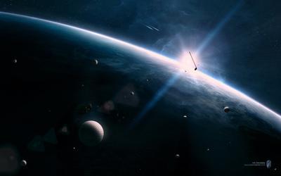 Космический Гольф космос будущее фантастика гольф клюшка закат планета туманность звезды