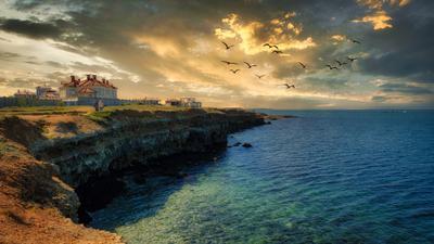 Вечер у моря Севастополь море небо облака берег закат