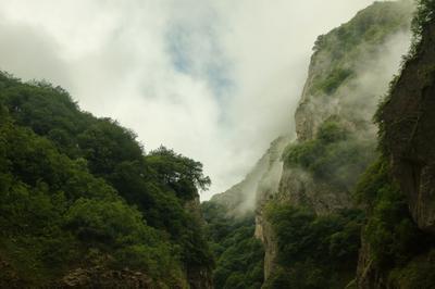 Туман в Кармадонском ущелье. Северная Осетия