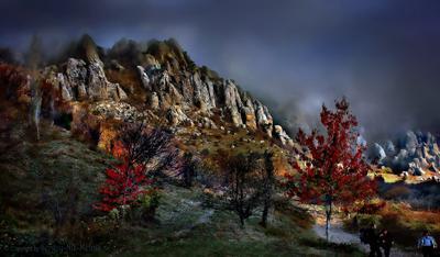 Свето-эффекты на дымчатой Демерджи Алушта водопад горы Демерджи Джур-Джур Крым Симеиз скалы Чатырдаг Панагия Зеленогорье каменные-монстры-крыма