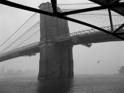 Непересекающиеся прямые зима Нью-Йорк мост Гудзон река