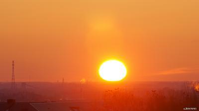 ПЕКЛО 30.03.21 омск сибирь с балкона пекло закат оранжевый sigma mc-11 Sigma 120-300 f2.8