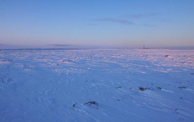 Одоптинский пейзаж Сахалин, Одопту, зима, вечер, тундра