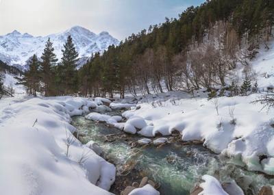 Тепло и зимою речке Терскол (3) Приэльбрусье зима река Терскол