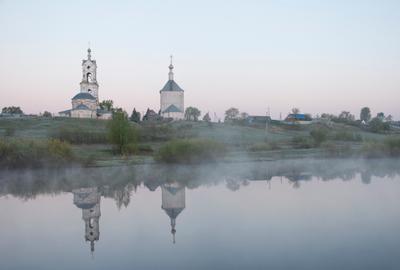 Майский рассвет Рязань рассвет река церковь туман