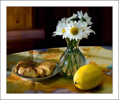 Деревенский натюр лимон ромашки сухари