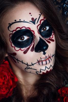 santa muerte santa muerte beauty арт портрет лицо хэллоуин страх смерть череп девушка волосы взгляд