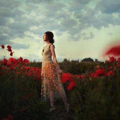 Dry earth portrait woman earth poppy poppies flowers red beauty