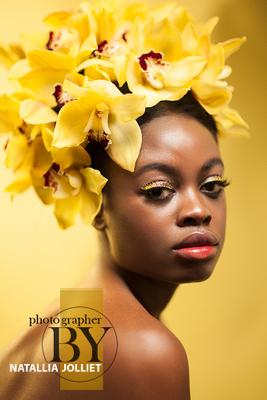 Yellow orchid yellow orchid flower flowers portrait beauty fashion make-up hair style glamour