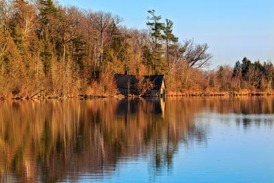 Boat house Лодочная станция озеро закат отражение лес