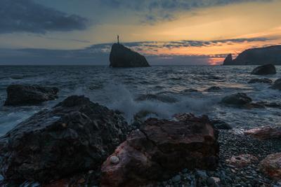 Закат на Феоленте море вечер закат облака бухта пейзаж