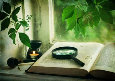 Обещанный День...  Книга лупа трубка спичка свеча
