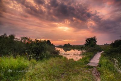 Пейзаж после грозы лето пейзаж закат река небо