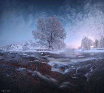 Водопады подмосковья Подмосковье ручей перекат рассвет иней мороз