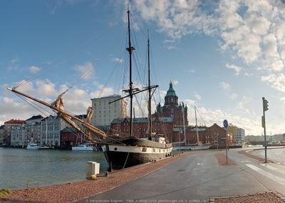 ПАНОРАМА Хельсинки. Набережная 4. панорама финляндия хельсинки порт набережная парусник