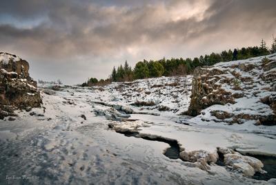 Эллида Исландия река пейзаж зима вечер природа