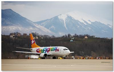 Олимпийский перевозчик боинг, 737, сочи, адлер, горы, олимпиада