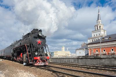 Москва вокзальная паровоз ржд железная дорога казанский вокзал рельсы дым поезд