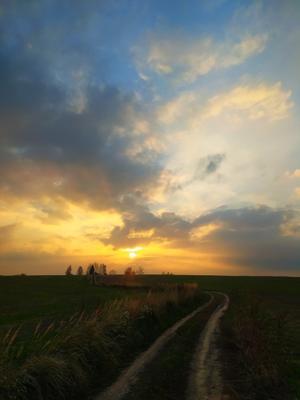 Тихий вечер Закат солнце деревня небо