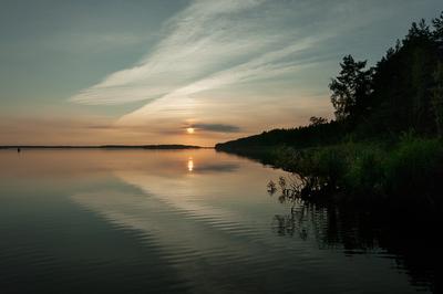 Река река закат берег вода небо солнце