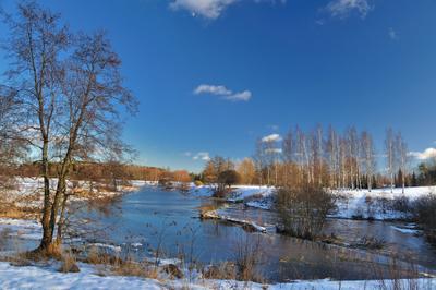 """""""Чиста небесная лазурь ..."""" февраль порог река Керава Хельсинки Финляндия Keravajoki Helsinki Finland"""