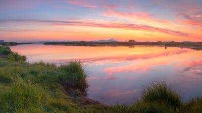 рассвет на реке опала россия камчатка август лето 2015 путешествия туризм опала вулкан река сплав панорама отражения утро рассвет