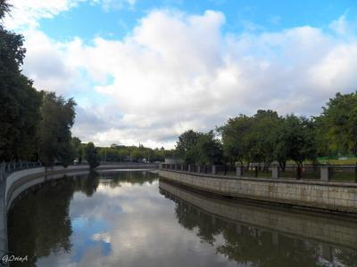 ***Яуза выше шлюза Г.Гольца Moscow река Яуза деревья небо