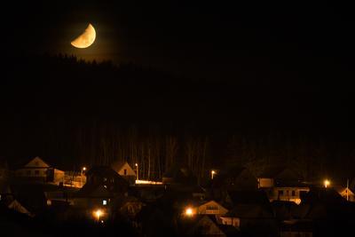 Половинка лунного сыра Луна закат луны ночь деревня лунный сыр