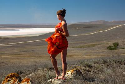 Кристина (фото 12+1) девушка природа лето море чёрное Крым Опукский заповедник 2020