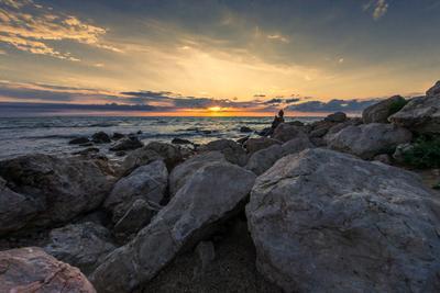 Вечерком у моря Прибой море пейзаж вечер закат