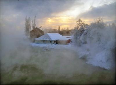 Однажды, в студеную зимнюю пору.. зима озеро теплая вода туман