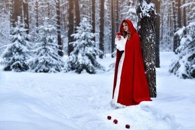 Зимние яблочки сказка зима яблоко яблоки сказочный снег лес парк