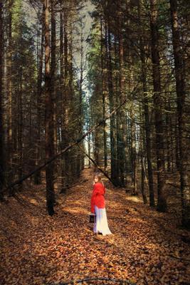 Осенняя осень ребенок лес листва фонарь красный цвет