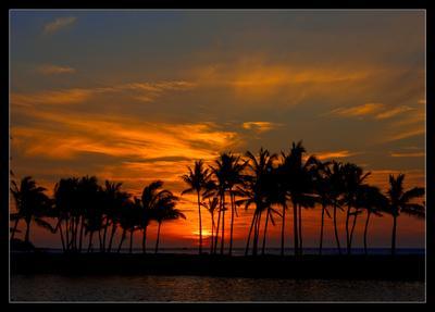 Лучи уходящего гавайского солнца Hawaii Big Island закат