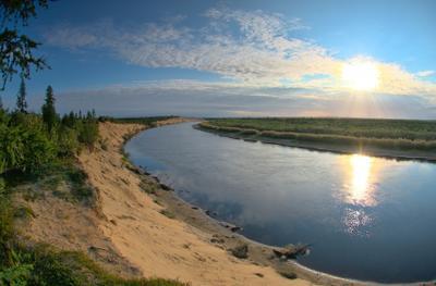 Утро на реке Куе заполярье крайний север Ненецкий автономный округ