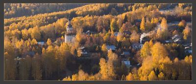 купаясь в янтаре золотая осень село церковь рассвет