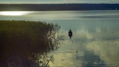Плеск Озеро лето солнце блики вода рыбак