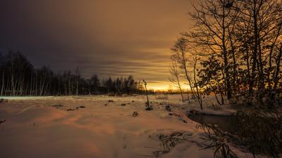 Однажды вечером. первый снег