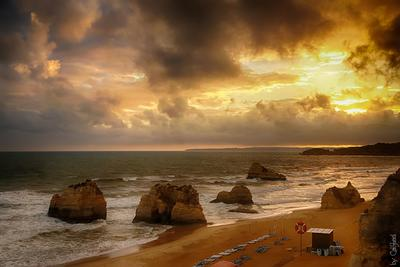 *** океан, скалы, волны, пляж, облака, закат, португалия, algarve,