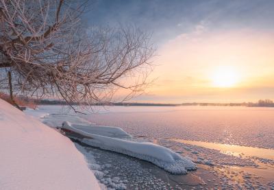Скованная льдами утро зима рассвет пейзаж