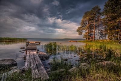 Тихий берег озеро онежское мостик пирс