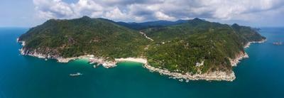 Панган панорама аэрофото полет высота таиланд phangan Панган пляж остров залив Тропический лодка песок вода путешествия природа лето отпуск море солнечный свет земля путешествие синий зеленый солнце экзотика морской пейзаж океан облако на открытом воздухе