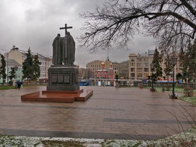 Славянская площадь архитектура город Москва Китай-город памятники пейзаж скульптура панорама