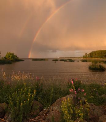 После дождичка Финский залив закат радуга