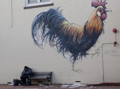 Rooster and old lady