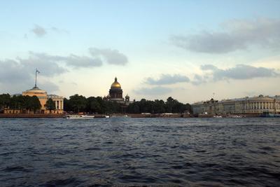 Санкт-Петербург. Нева. Вечер вечер, город, деревья, дома, канал, лето, набережная, небо, нева, отражения, пейзаж, река, санкт-петербург, спб