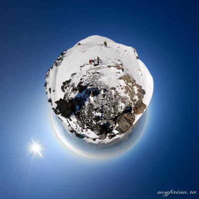 Планета Эльбрус Эльбрус горы панорама стереографическая проекция