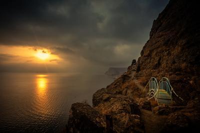 """Тропы мыса """"Айя"""" море вечер закат облака бухта пейзаж севастополь.балаклава"""