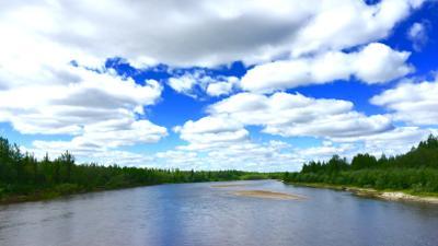 Нарисованные облака облака природа пейзаж север речка вода река НовыйУренгой ЯМАЛ