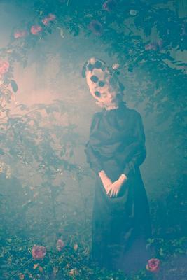 обреченность... ночь кусты розы туман девушка